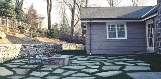 Semi-pervious rear patio and retaining walls, Rye. NY